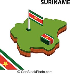Isometric map and flag of Suriname. 3D isometric Vector Illustration