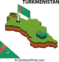 Isometric map and flag of Turkmenistan. 3D isometric Vector Illustration
