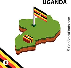 Isometric map and flag of Uganda. 3D isometric Vector Illustration