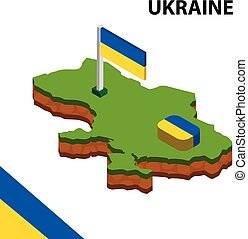 Isometric map and flag of Ukraine. 3D isometric Vector Illustration