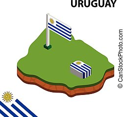 Isometric map and flag of Uruguay. 3D isometric Vector Illustration