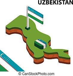 Isometric map and flag of Uzbekistan. 3D isometric Vector Illustration