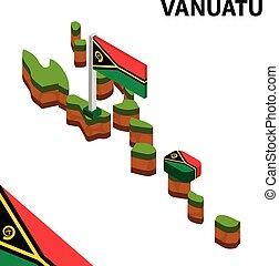 Isometric map and flag of Vanuatu. 3D isometric Vector Illustration