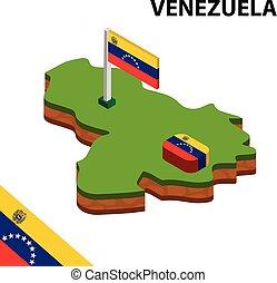 Isometric map and flag of Venezuela. 3D isometric Vector Illustration