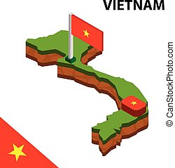 Isometric map and flag of Vietnam. 3D isometric Vector Illustration