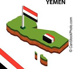 Isometric map and flag of Yemen. 3D isometric Vector Illustration