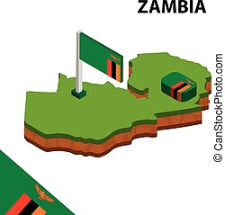 Isometric map and flag of Zambia. 3D isometric Vector Illustration