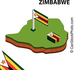 Isometric map and flag of Zimbabwe. 3D isometric Vector Illustration