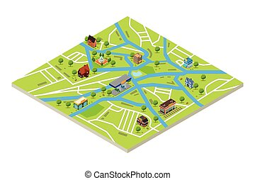Isometric Map of a City in GPS style Vector Illustration