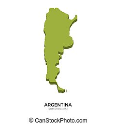 Isometric map of Argentina detailed vector illustration....