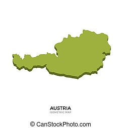 Isometric map of Austria detailed vector illustration