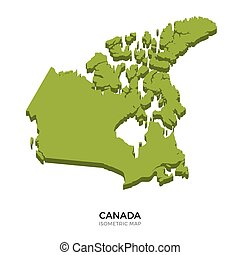 Isometric map of Canada detailed vector illustration