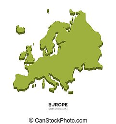 Isometric map of Europe detailed vector illustration