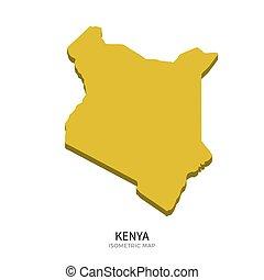 Isometric map of Kenya detailed vector illustration