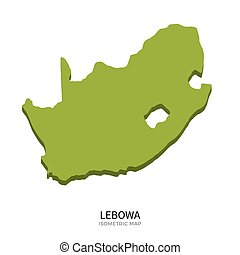 Isometric map of Lebowa detailed vector illustration
