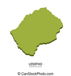 Isometric map of Lesotho detailed vector illustration