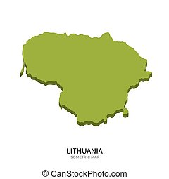 Isometric map of Lithuania detailed vector illustration