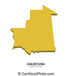 Isometric map of Mauritania detailed vector illustration