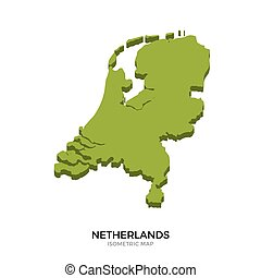 Isometric map of Netherlands detailed vector illustration