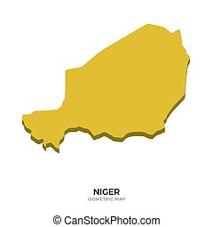 Isometric map of Niger detailed vector illustration....