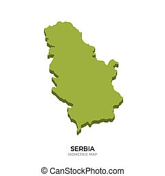 Isometric map of Serbia detailed vector illustration