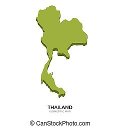 Isometric map of Thailand detailed vector illustration