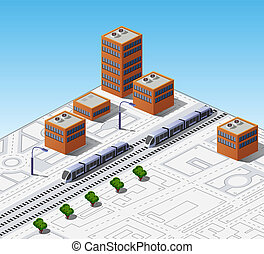 Isometric map of the city with buildings and trains