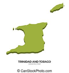 Isometric map of Trinidad and Tobago detailed vector...