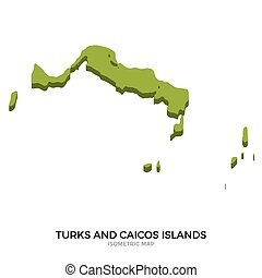 Isometric map of Turks and Caicos Islands detailed vector...