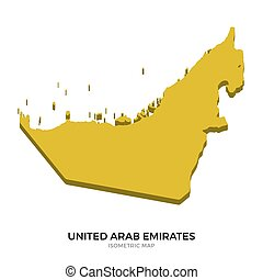 Isometric map of United Arab Emirates detailed vector illustration