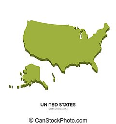 Isometric map of United States detailed vector illustration