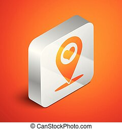 Isometric Map pointer with heart icon isolated on orange background. Silver square button. Vector Illustration