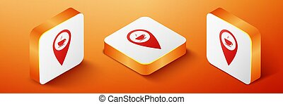 Isometric Map pointer with hot coffee cup icon isolated on orange background. Orange square button. Vector