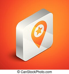 Isometric Map pointer with star icon isolated on orange background. Star favorite pin map icon. Map markers. Silver square button. Vector Illustration