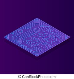 Isometric map with computer chip color icon