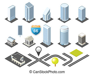 isometric, mapa, toolkit, v centru města