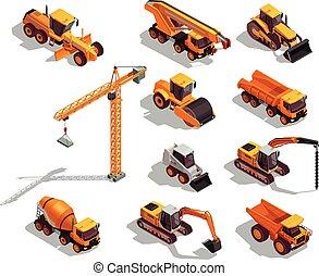 isometric, maquinaria construção, ícones