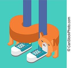 isometric., mascota, ilustración, gato, vector, contra, ...