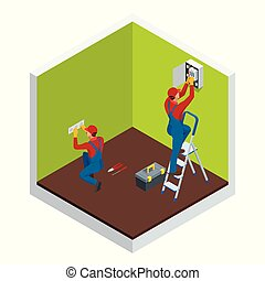 Isometric master electrician at work near the plate with a plurality of wires. Repairs in the house or apartment, wiring electricity. Construction building industry vector illustration