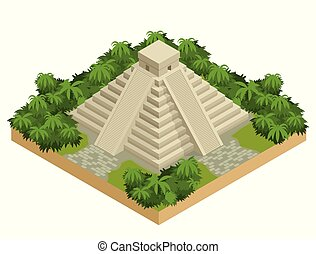 Isometric Mayan pyramid isolated on white. Vector travel banner. The teotihuacan pyramids in Mexico, North America. Ancient stepped pyramids