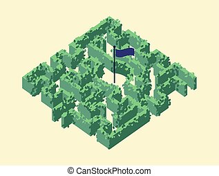 Isometric maze / labyrinth made by plant