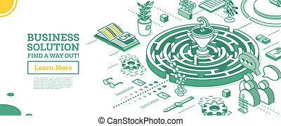 Isometric Maze. Outline Labyrinth. Business Solution.