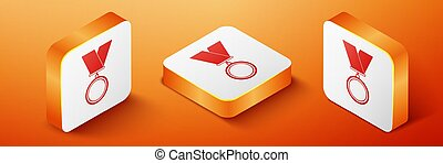 Isometric Medal icon isolated on orange background. Winner symbol. Orange square button. Vector