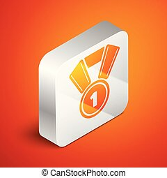 Isometric Medal icon isolated on orange background. Winner symbol. Silver square button. Vector Illustration