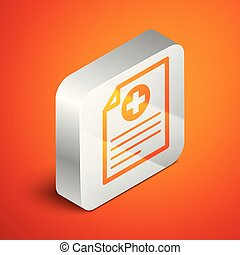 Isometric Medical clipboard with clinical record icon on orange background. Health insurance form. Document prescription, medical check marks report. Silver square button. Vector Illustration