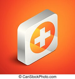 Isometric Medical cross in circle icon isolated on orange background. First aid medical symbol. Silver square button. Vector Illustration