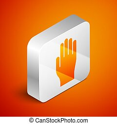 Isometric Medical rubber gloves icon isolated on orange background. Protective rubber gloves. Silver square button. Vector Illustration