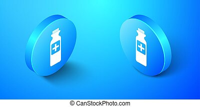 Isometric Medicine bottle icon isolated on blue background. Bottle pill sign. Pharmacy design. Blue circle button. Vector
