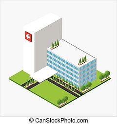 Isometric medium hospital buiding, health and medical, isolated on white background vector illustration