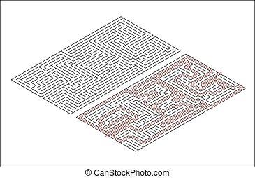 isometric, medium, lösning, rektangulär, komplexitet, bana, labyrint, vit röd, synhåll
